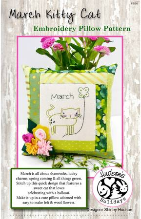 March Kitty Cat Embroidery Pillow