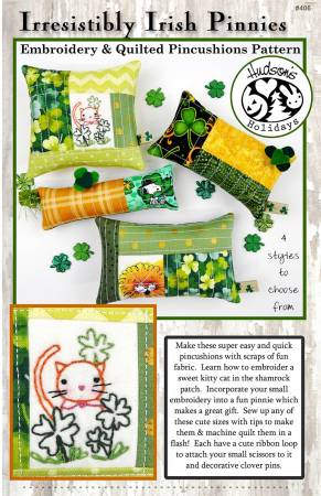 Irresistibly Irish Pinnie - Embroidery and Quilted Pincushion Pattern