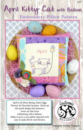 April Kitty Cat Embroidery Pillow Pattern