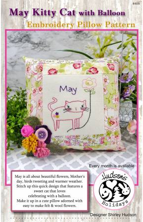 May Kitty Cat Embroidery Pillow Pattern