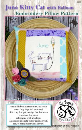 June Kitty Cat Embroidery Pillow Pattern