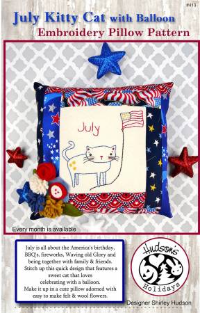 July Kitty Cat Embroidery Pillow Pattern
