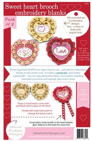 Sweet Heart Brooch Embroidery Blanks