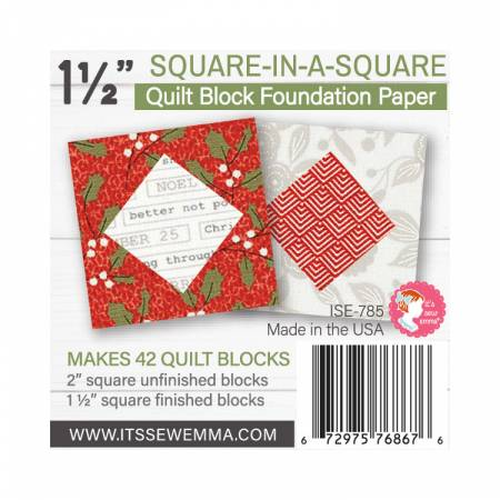 1.5in Square in a Square Quilt Block Foundation Paper