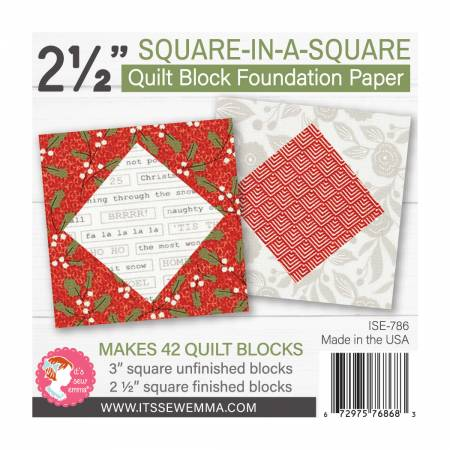 2.5in Square in a Square Quilt Block Foundation Paper