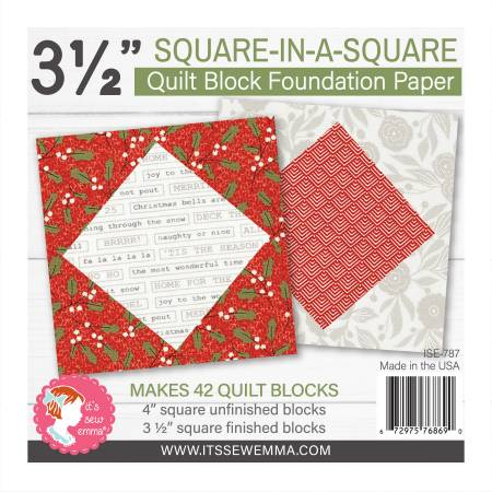 3.5in Square in a Square Quilt Block Foundation Paper