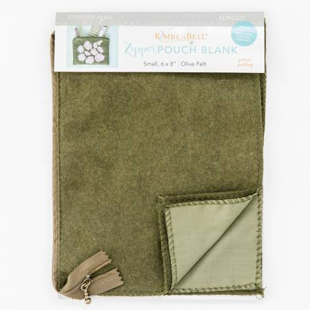 Zipper Pouch Blank Olive Felt Small