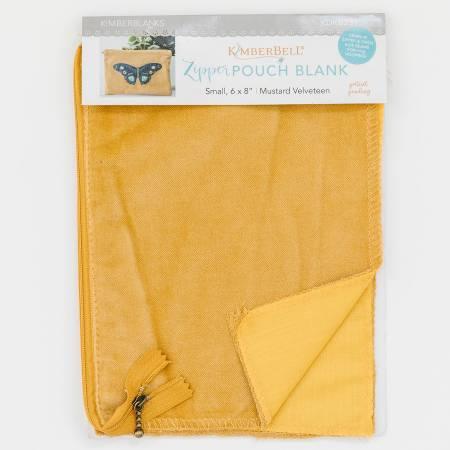 Zipper Pouch Blank Mustard Velveteen Small