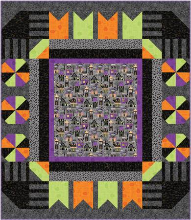 Howetown Halloween Town Square Quilt Kit, 57.5in x 66in