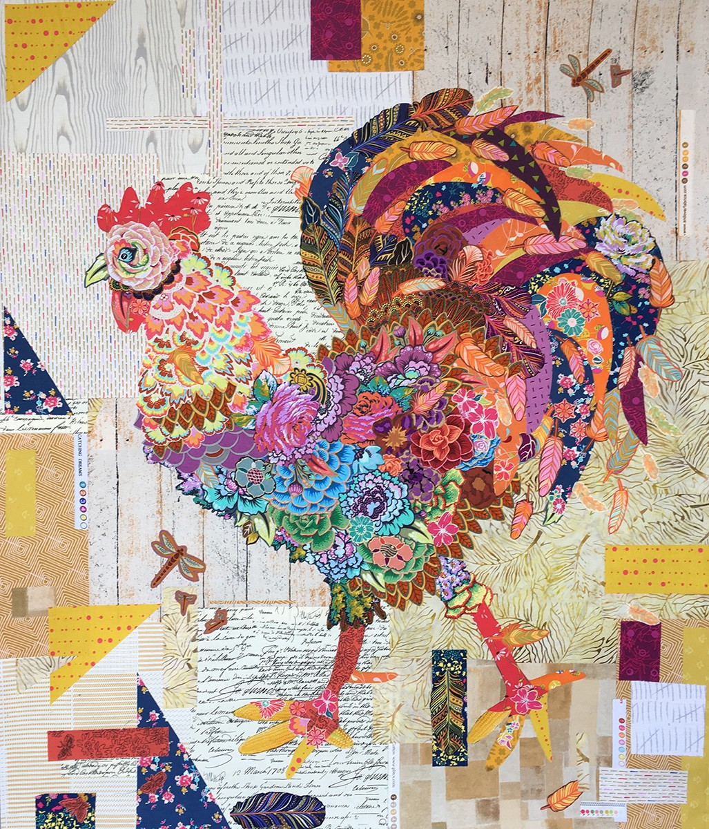 Doodle Doo Rooster Collage Pattern By Heine Laura