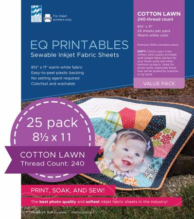 Premium Cotton Lawn Inkjet Fabric 25 Sheets per pack