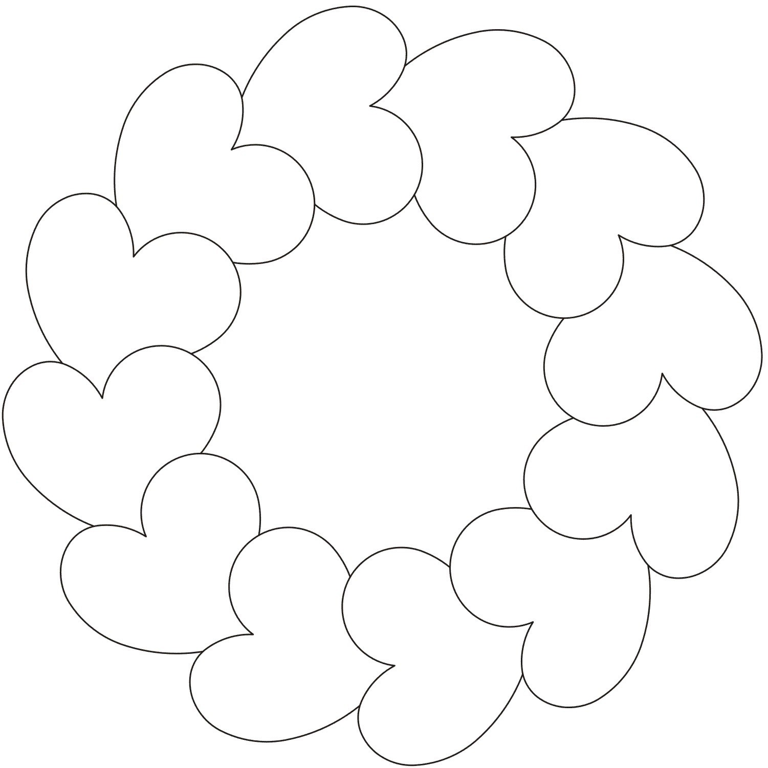 Circle of Hearts Quilting Stencil
