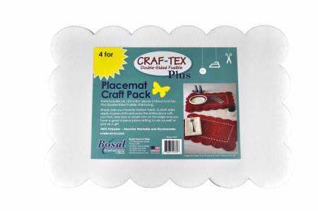 Craf Tex Double Sided Fusible Placemat Craft Pack 12-1/2in x 18-1/4in 4pk