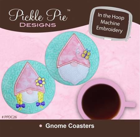 Gnome Coasters In the Hoop Machine Embroidery Design CD