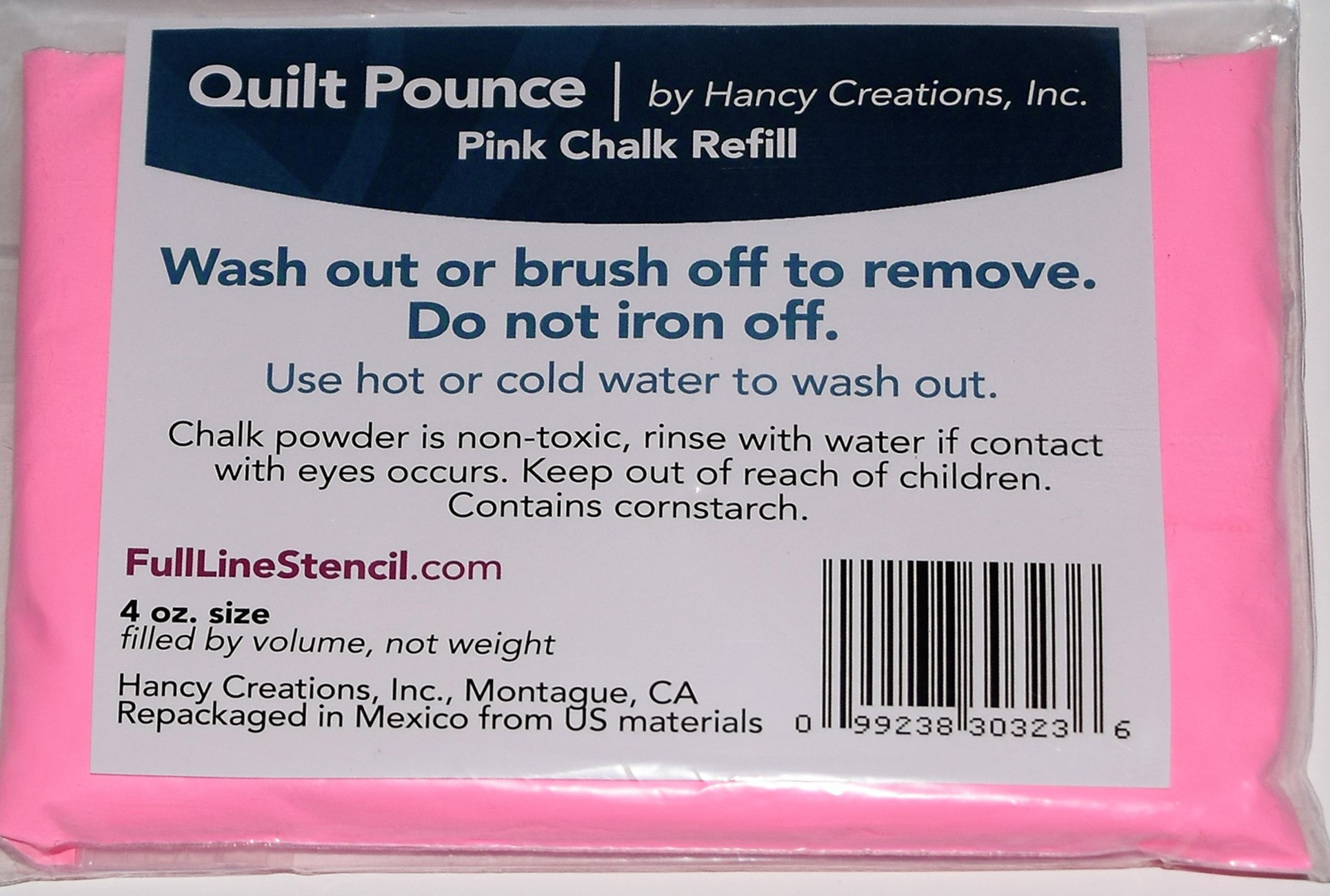 Hancy Creations QPU Ultimate Quilt Pounce Pad Iron-Off Chalk Powder White Full Line Stencils