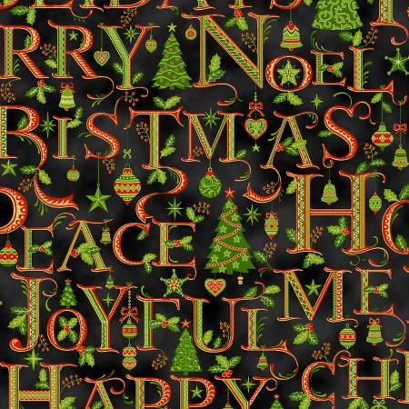Black Holiday Words w/Metallic