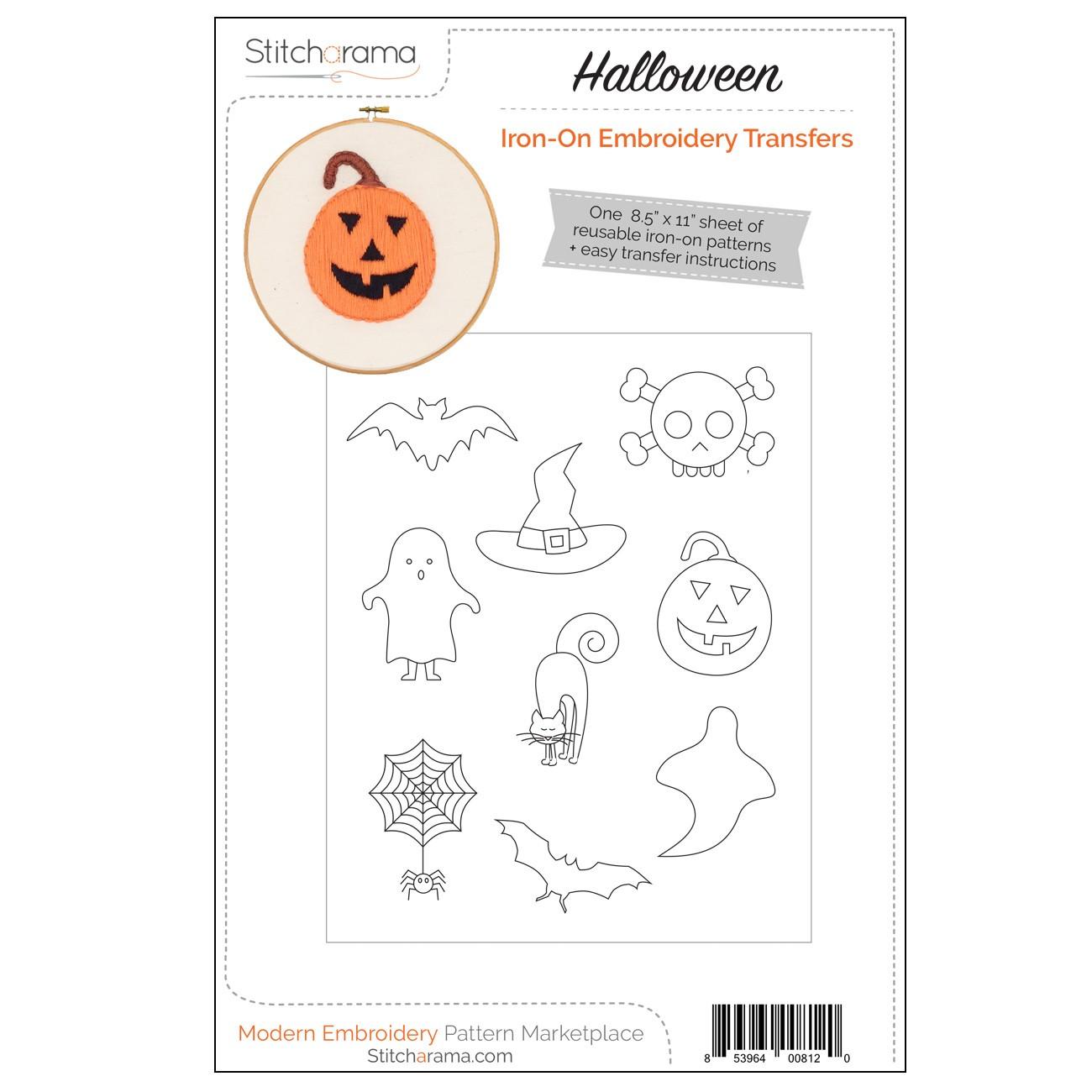 Halloween Iron On Embroidery Transfers