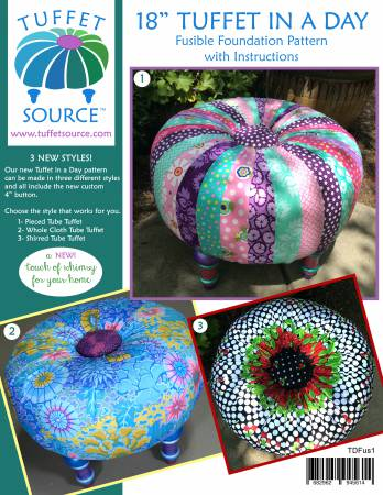 Fusible Tuffet In a Day Pattern with Instructions and 4in Button