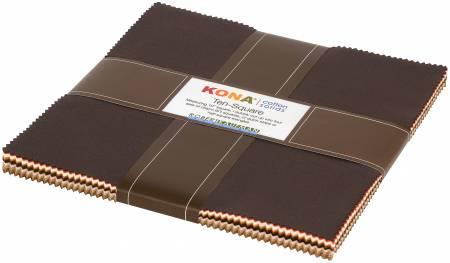 10in Squares Kona Solids, Norm & Nanette, 42pcs/bundle