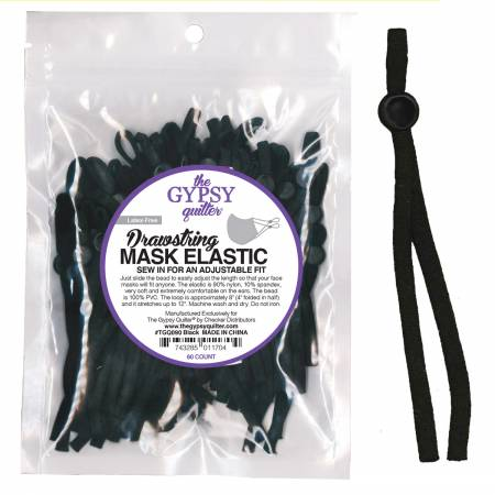 Drawstring Mask Elastic Black 60ct