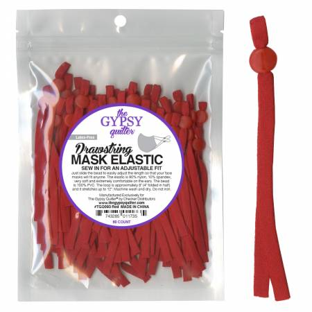 Drawstring Mask Elastic Red 8in 60ct