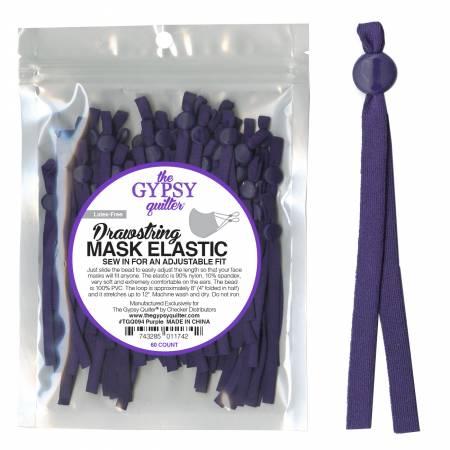 Drawstring Mask Elastic Purple 8in 60ct
