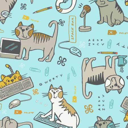 Light Aqua Cats Mischief